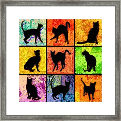 Cat Squares Abstract Framed Print
