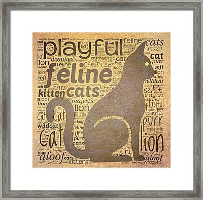 Cat Typography Framed Print by Terry Fleckney