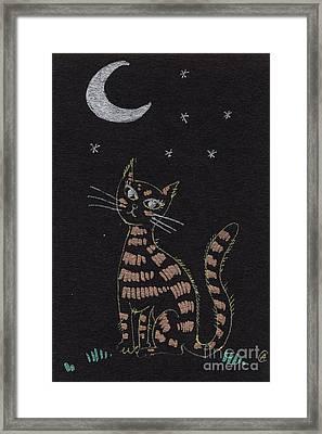 Cat Under The Moonlight Framed Print by Angel  Tarantella