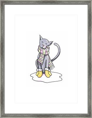 Cat Wearing Scarf Framed Print by Christy Beckwith