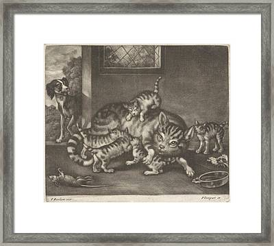 Cat With Five Kittens, Jan Griffier I, Pierce Tempest Framed Print