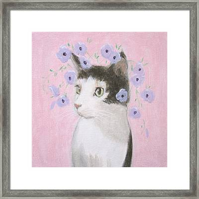 Cat With Purple Flowers Framed Print