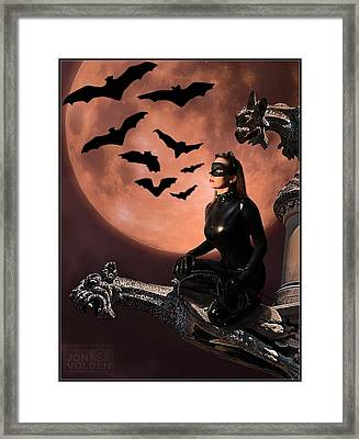 Cat Vs Bat Framed Print