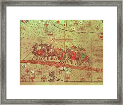 Catalan Atlas, Detail Showing The Family Of Marco Polo 1254-1324 Travelling By Camel Caravan, 1375 Framed Print by Spanish School