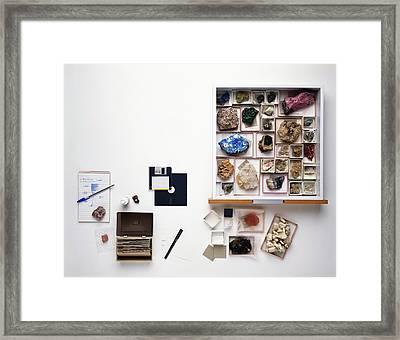 Cataloguing Mineral Specimens Framed Print by Dorling Kindersley/uig