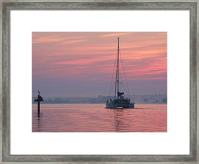 Catamaran At Dawn Framed Print
