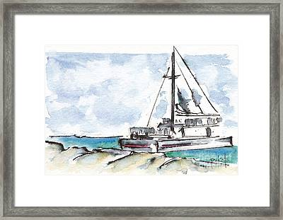 Catamaran On Fury Beach Framed Print by Pat Katz