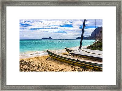 Catamaran On Waimanalo Beach Framed Print