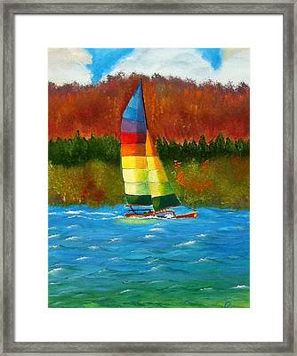 Catamaran Sailing Framed Print by Rossana Kelton