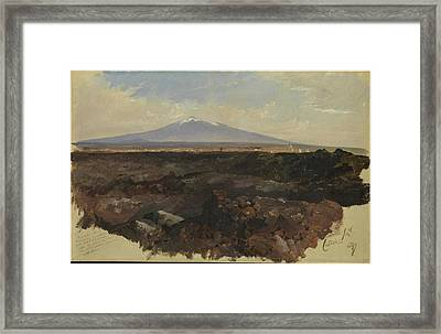 Catania And Mount Etna Framed Print by Edward Lear