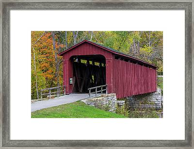 Cataract Covered Bridge Over Mill Creek Framed Print by Chuck Haney