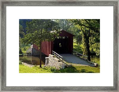 Cataract Falls Covered Bridge Framed Print by John McAllister