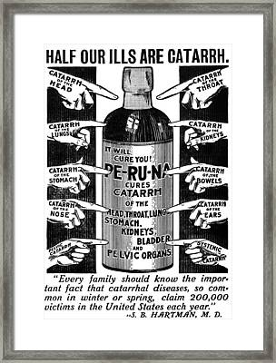Catarrh Cure For What Ails You C. 1905 Framed Print by Daniel Hagerman