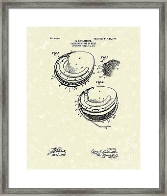 Catcher's Glove 1905 Patent Art Framed Print by Prior Art Design