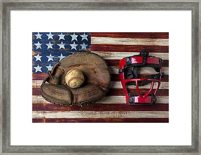 Catchers Glove On American Flag Framed Print by Garry Gay