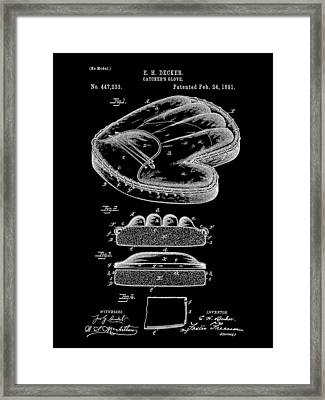 Catcher's Glove Patent 1891 - Black Framed Print