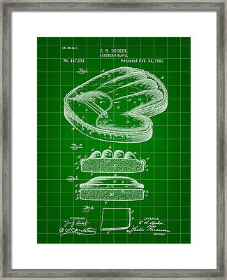 Catcher's Glove Patent 1891 - Green Framed Print by Stephen Younts