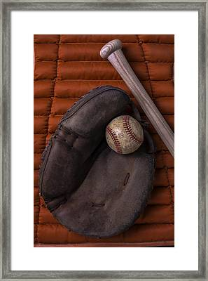 Catchers Mitt And Baseball Framed Print