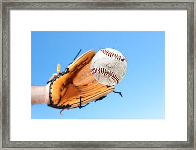 Catching A Baseball Framed Print by Joe Belanger