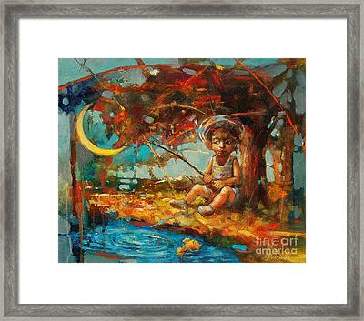 Catching A Goldfish II Framed Print by Michal Kwarciak
