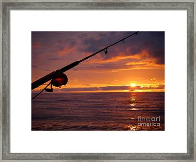 Catching A Last Glimpse Of The Sunset. Framed Print by Sylvie Heasman