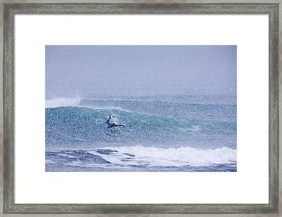 Catching A Wave In A Blizzard Framed Print by Tim Grams