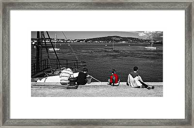 Catching Crabs In Red Framed Print by Meirion Matthias