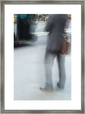 Catching The Bus Framed Print by Karol Livote