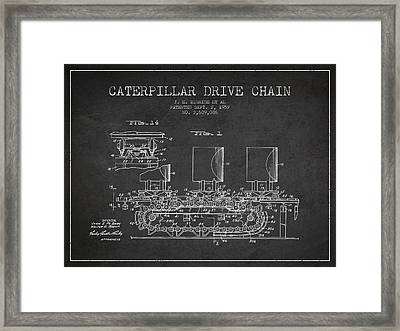 Caterpillar Drive Chain Patent From 1952 Framed Print