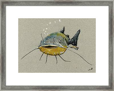 Catfish Framed Print by Juan  Bosco