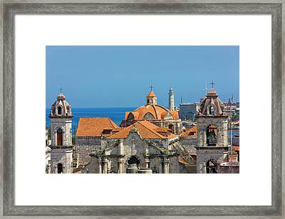 Cathedral And Light House In The Harbor Framed Print by Keren Su