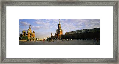Cathedral At A Town Square, St. Basils Framed Print