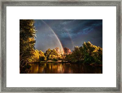 Cathedral Crossing Double Rainbow Framed Print by Linda Pulvermacher