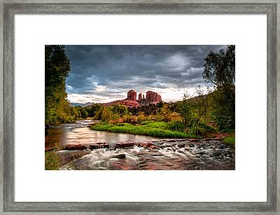 Cathedral Crossing Red Rock Framed Print by Linda Pulvermacher