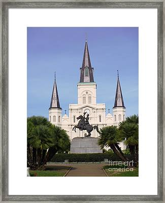 Framed Print featuring the photograph Cathedral In Jackson Square by Alys Caviness-Gober