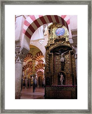 Cathedral In Mezquita Framed Print by Jacqueline M Lewis
