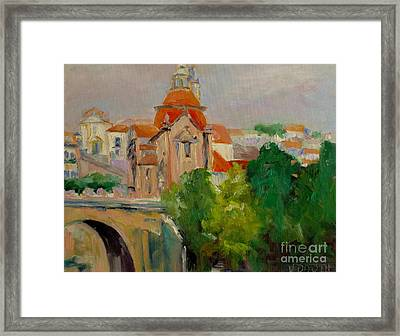 Cathedral In Portugal Framed Print by Virginia Dauth