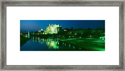 Cathedral Lit Up At Night, Palma Framed Print