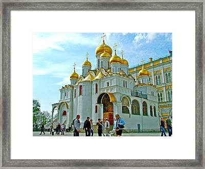 Cathedral Of The Annunciation Inside Kremlin Walls In Moscow-russia Framed Print by Ruth Hager