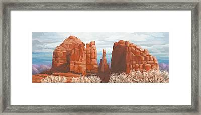 Cathedral Rock In Winter Framed Print