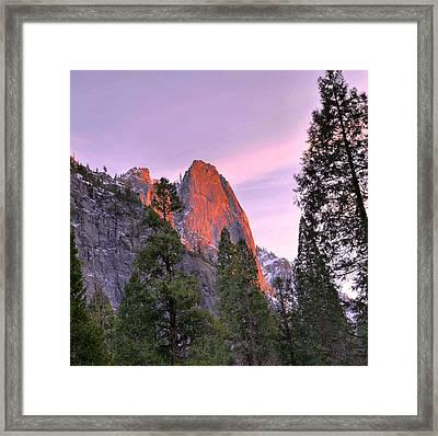 Sentinel Rock Alpenglow Framed Print by Stephen  Vecchiotti