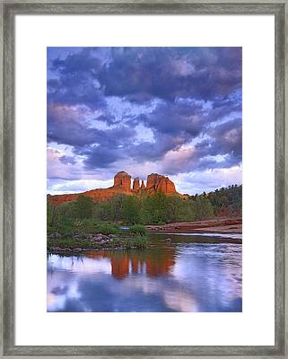Cathedral Rock And Oak Creek At Red Framed Print by Tim Fitzharris