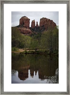 Cathedral Rock And Reflection Framed Print by Dave Gordon