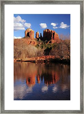 Cathedral Rock And Reflections At Sunset Framed Print by Michel Hersen