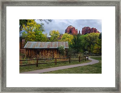 Cathedral Rock Buildings Near Sedona Framed Print by Dave Dilli