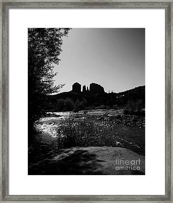 Cathedral Rock Bw Framed Print by Mel Steinhauer