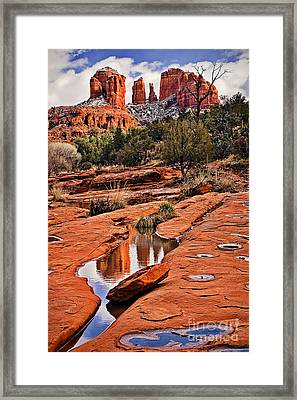 Cathedral Rock In Winter Framed Print by Priscilla Burgers