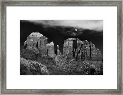 Cathedral Rock Moon Rise Framed Print