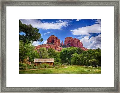 Cathedral Rock Framed Print by Priscilla Burgers