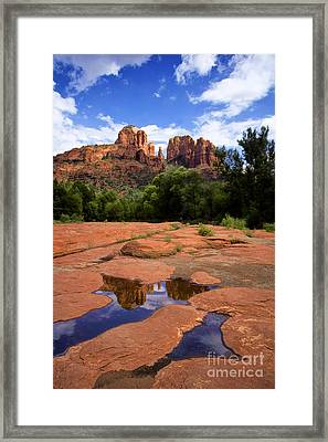 Cathedral Rock Reflections Framed Print by Priscilla Burgers